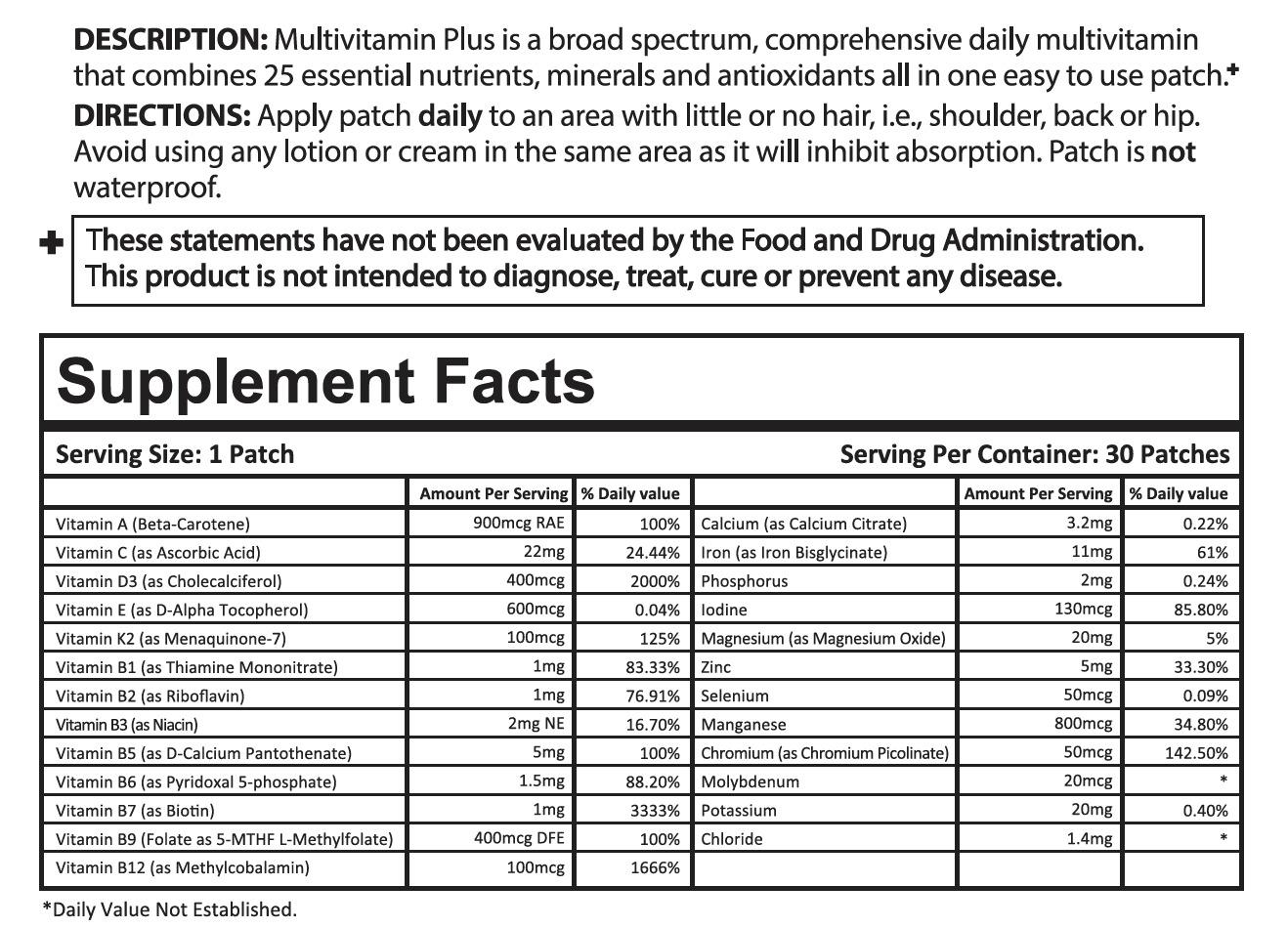 Multi Vitamin Patch Ingredients