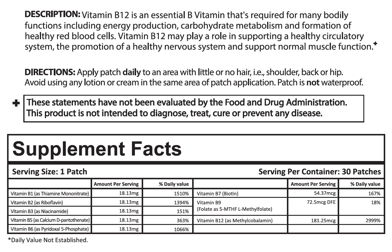 B12 Patch Ingredients