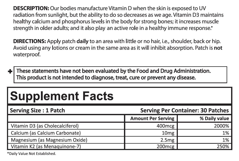 D3/Calcium Patch Ingredients