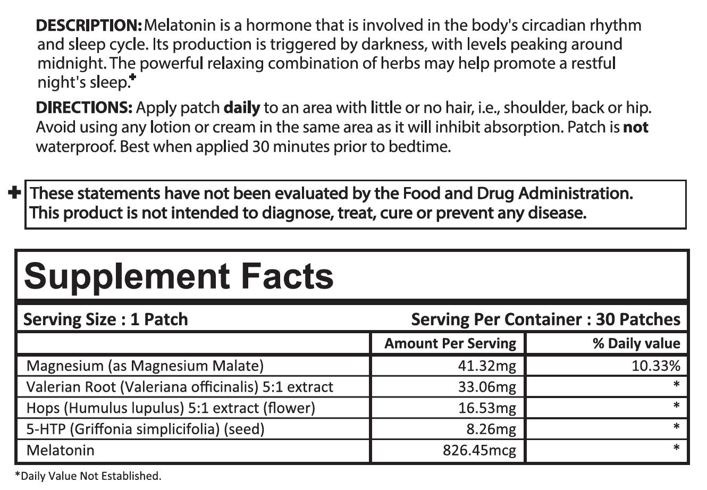 Sleep Starter Patch Ingredients
